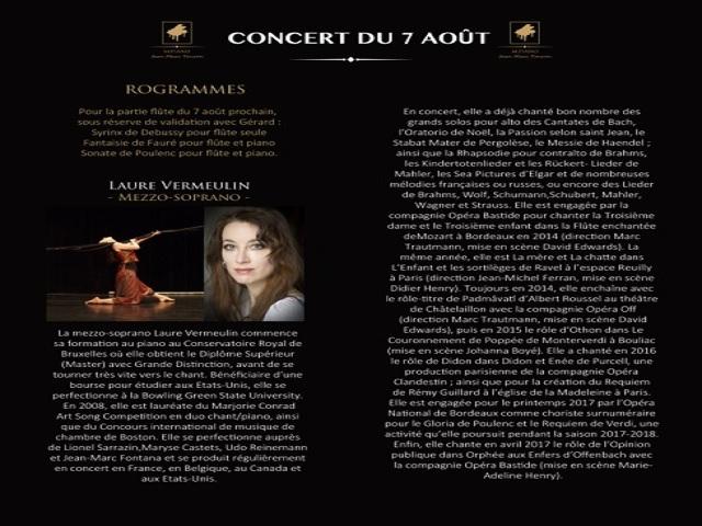 Concert - 7 août 2017 à 20h00  -  Laure VERMEULIN